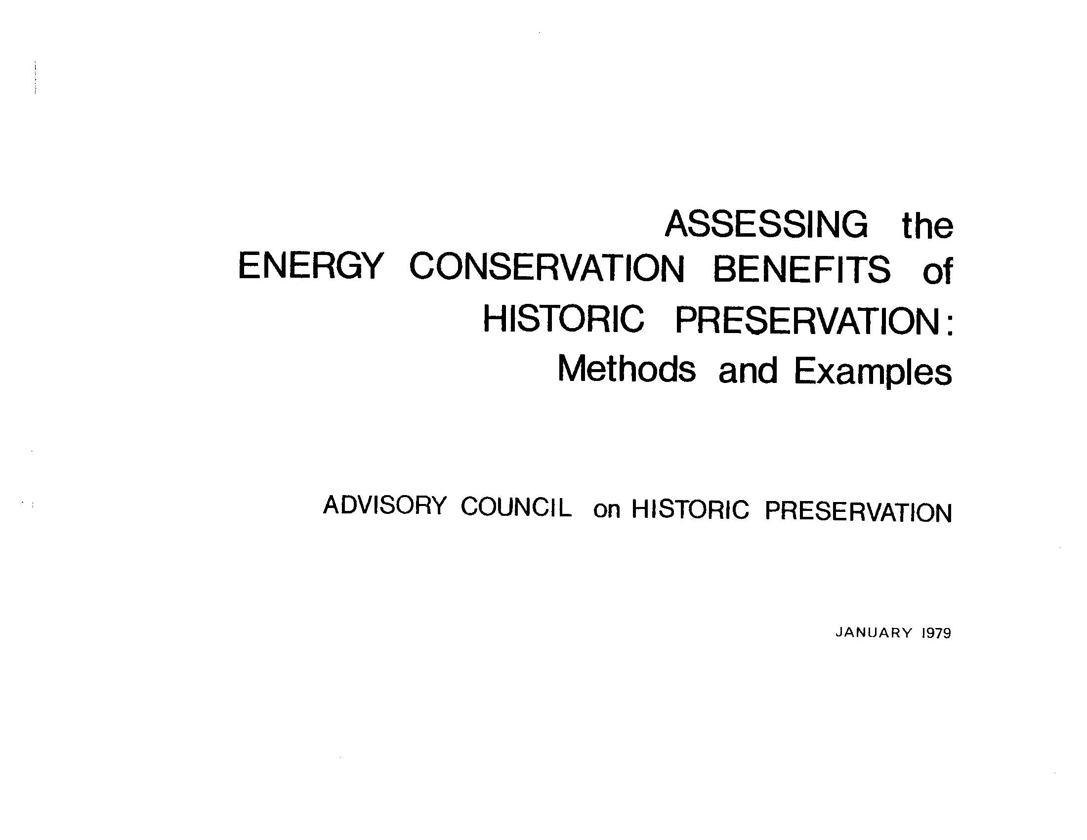 1979 ACHP Energy Conservation and Historic Preservation