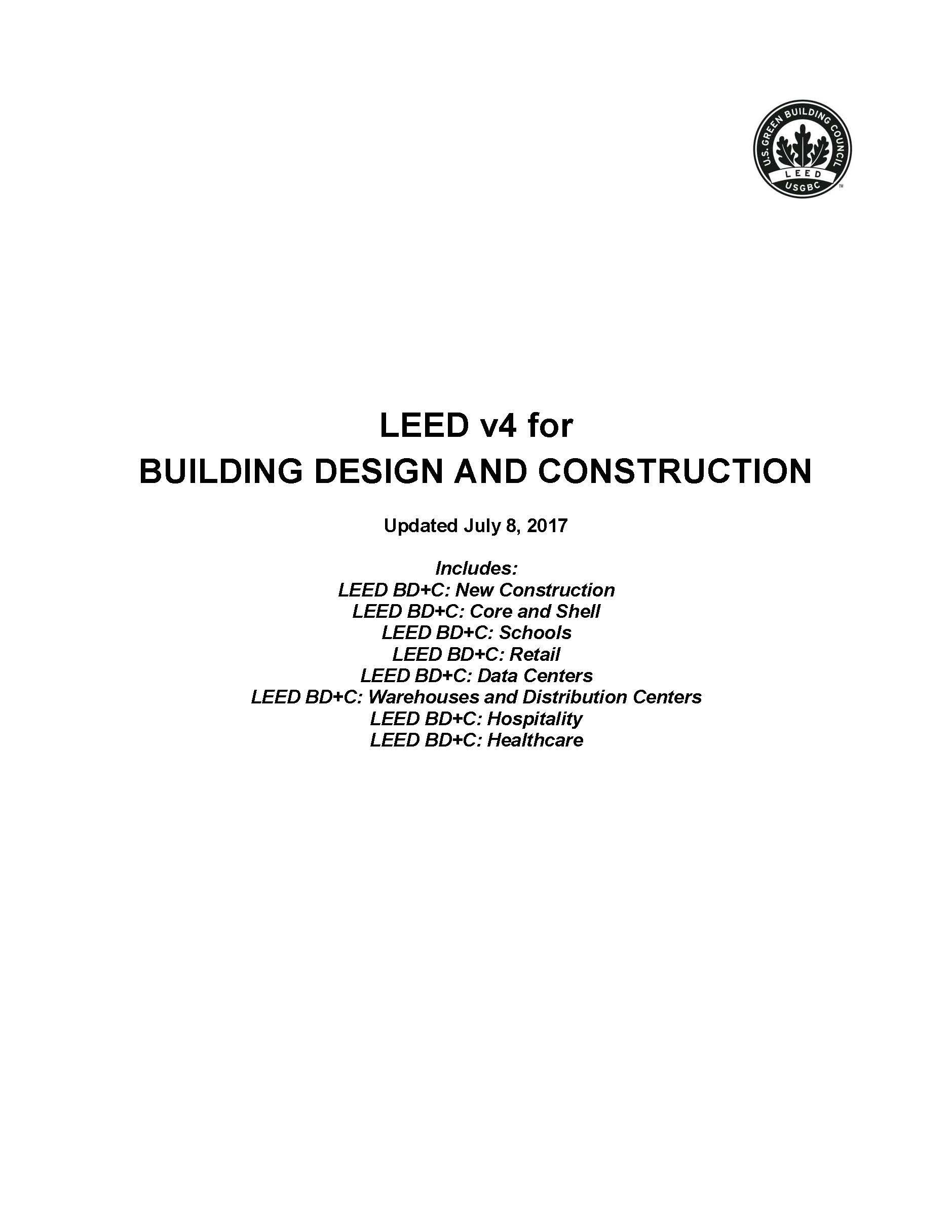 Leed V4 For Building Design And Construction