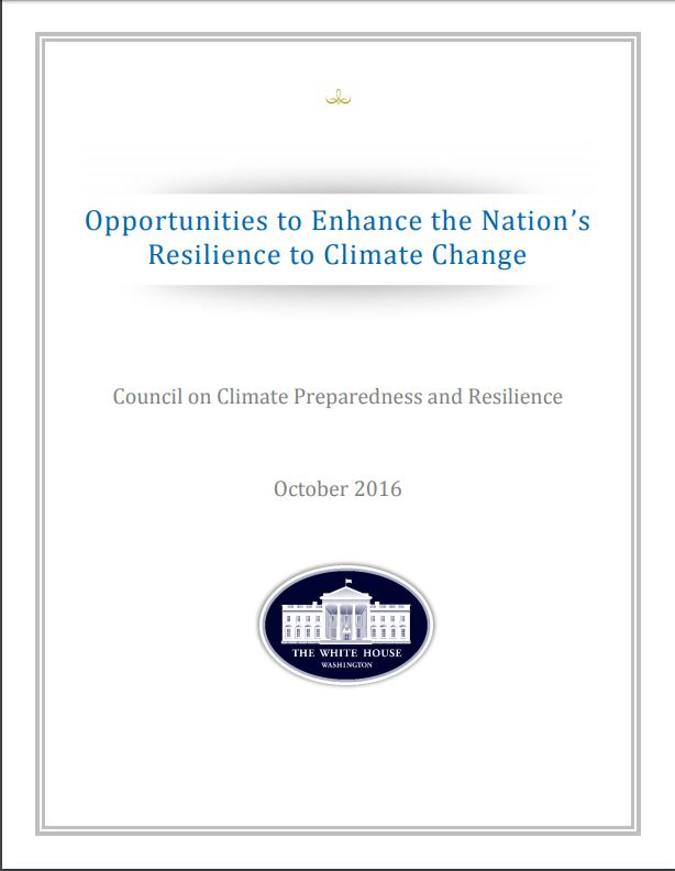 Opportunities to Enhance the Nation's Resilience to Climate Change Report Cover