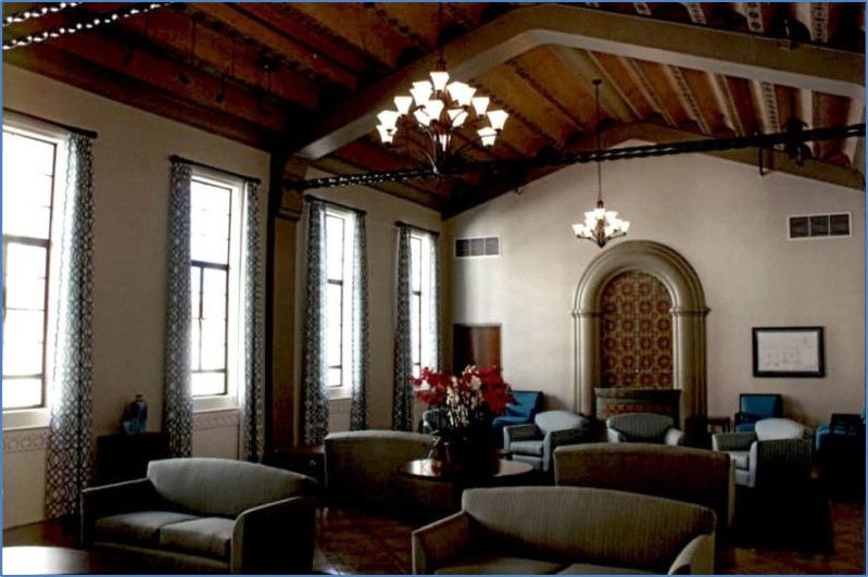 Interior view of exposed beam ceiling Community Room